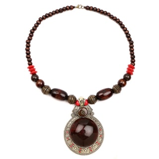 Liliana Bella Oxidised Gold Plated Red and Brown Wooden Beaded Necklace with Maroon Glass Stone