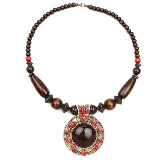 Liliana Bella Oxidised Gold Plated Red and Brown Wooden Beaded Necklace with Brown Glass Stone