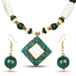 Liliana Bella Gold Plated Handmade Beige and Green Beaded Necklace and Earrings Set