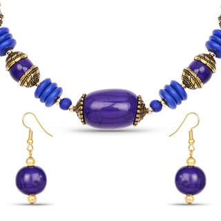Liliana Bella Gold Plated Handcrafted Blue Beaded Necklace and Earrings Set