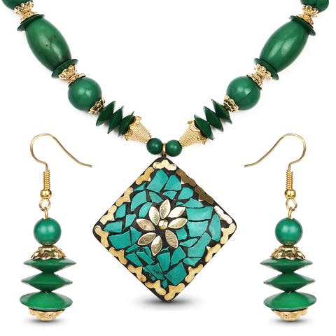 Liliana Bella Gold Plated Handmade Green Beaded Necklace and Earrings Set