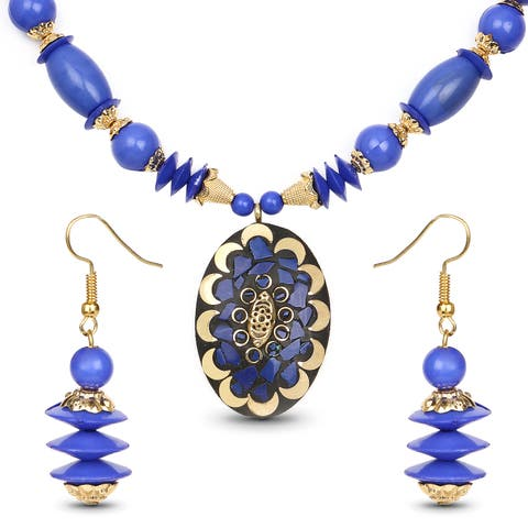 Liliana Bella Gold Plated Handmade Blue Beaded Oval Necklace and Earrings Set