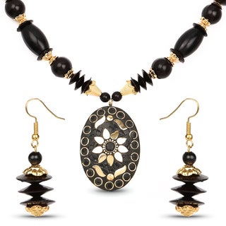 Liliana Bella Gold Plated Handmade Black Beaded Oval Necklace and Earrings Set