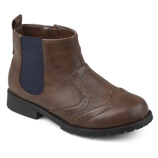 Journee Kids Boy's 'Lennon' Faux Leather Wingtip Chelsea Boots