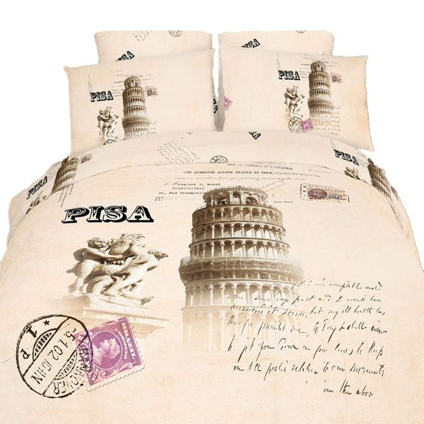 Dolce Mela Luxury Cotton Bedding Pisa 6 Piece Duvet Cover Set