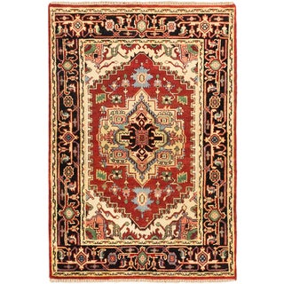 ecarpetgallery Hand-knotted Serapi Heritage Brown Wool Rug (4' x 5'10)