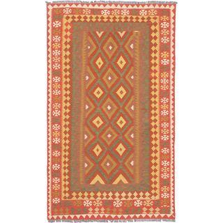 ecarpetgallery Hand-woven Izmir Kilim Brown Wool Kilim Rug (4'8 x 8'3)