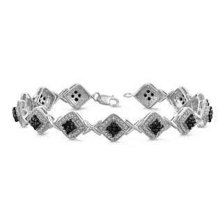 Jewelonfire 1.00 CTW Genuine Black & White Diamond Bracelet in Sterling Silver