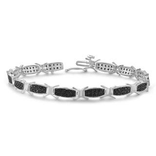 Jewelonfire 1.00 CTW Genuine Black Diamond Bracelet in Sterling Silver