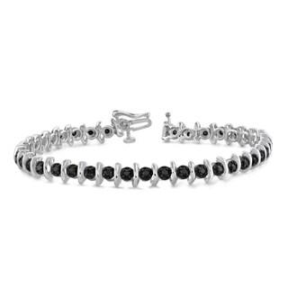 Jewelonfire Sterling Silver 2ct TDW Genuine Black Diamond Bracelet