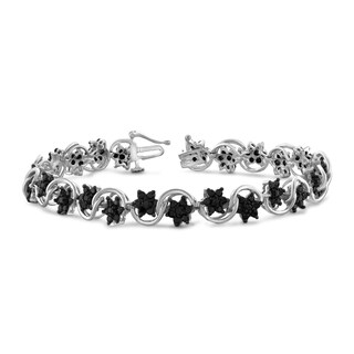 Jewelonfire Sterling Silver 4.00ct TDW Genuine Black Diamond Bracelet