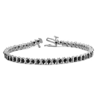 Jewelonfire Sterling Silver or Goldplated Sterling Silver 2ct TDW Black Diamond Bracelet