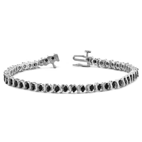 Jewelonfire Sterling Silver 1.50ct Black Diamond Bracelet
