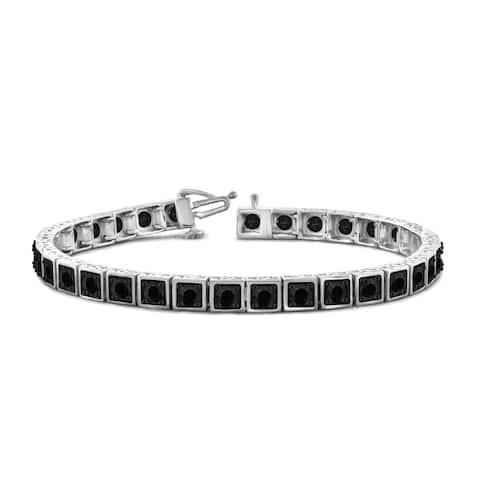 Jewelonfire Sterling Silver 5.00ct TDW Genuine Black Diamond Bracelet