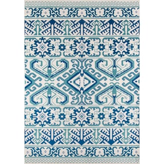 "Machine-Made Mojave Remmy Blue Polypropylene Rug (8'6"" x 11'6"")"