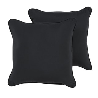 Shiel Sunbrella Black Indoor/ Outdoor Corded Pillow Set