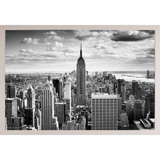 Empire State Black and White White Poly Frame 36 x 24-inch Poster