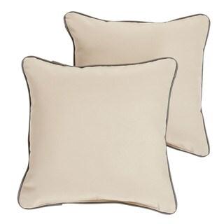 Stowe Sunbrella Beige/ Charcoal Indoor/ Outdoor Corded Pillow Set
