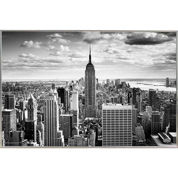 Empire State - Black & White Poster (36x24) with Metal Frame I ...