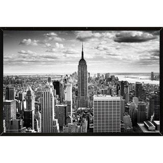 Empire State - Black & White Poster (36x24) with Black Hardboard Frame
