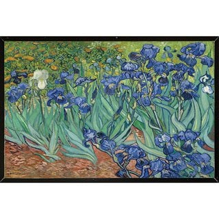Van Gogh Irises 30-inch x 24-inch Poster with Black Hardboard Frame