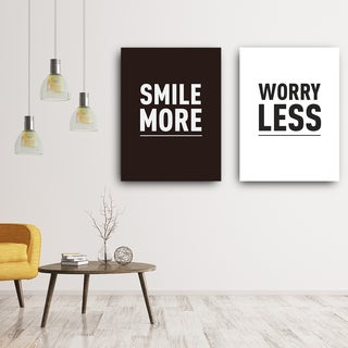 Mod Made 'Smile More Worry Less' Canvas Wall Art
