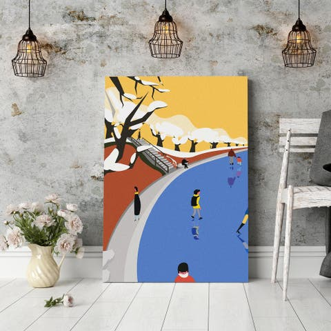 Mod Made 'Snowing Park' Gallery Wrapped Canvas Wall Art