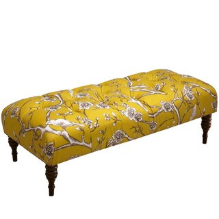 Skyline Furniture Vintage Blossom Citrine Tufted Bench