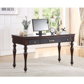 ABBYSON Delano Luxury Leather Writing Desk