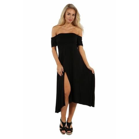 24/7 Comfort Apparel Star Sweep Off Shoulder Dress