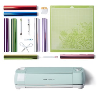 Cricut Explore AIR 2 Mint Electronic Die Cutting Machine Iron On Bundle