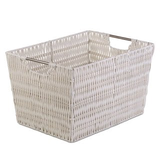 Storage Medium White Woven Storage Basket