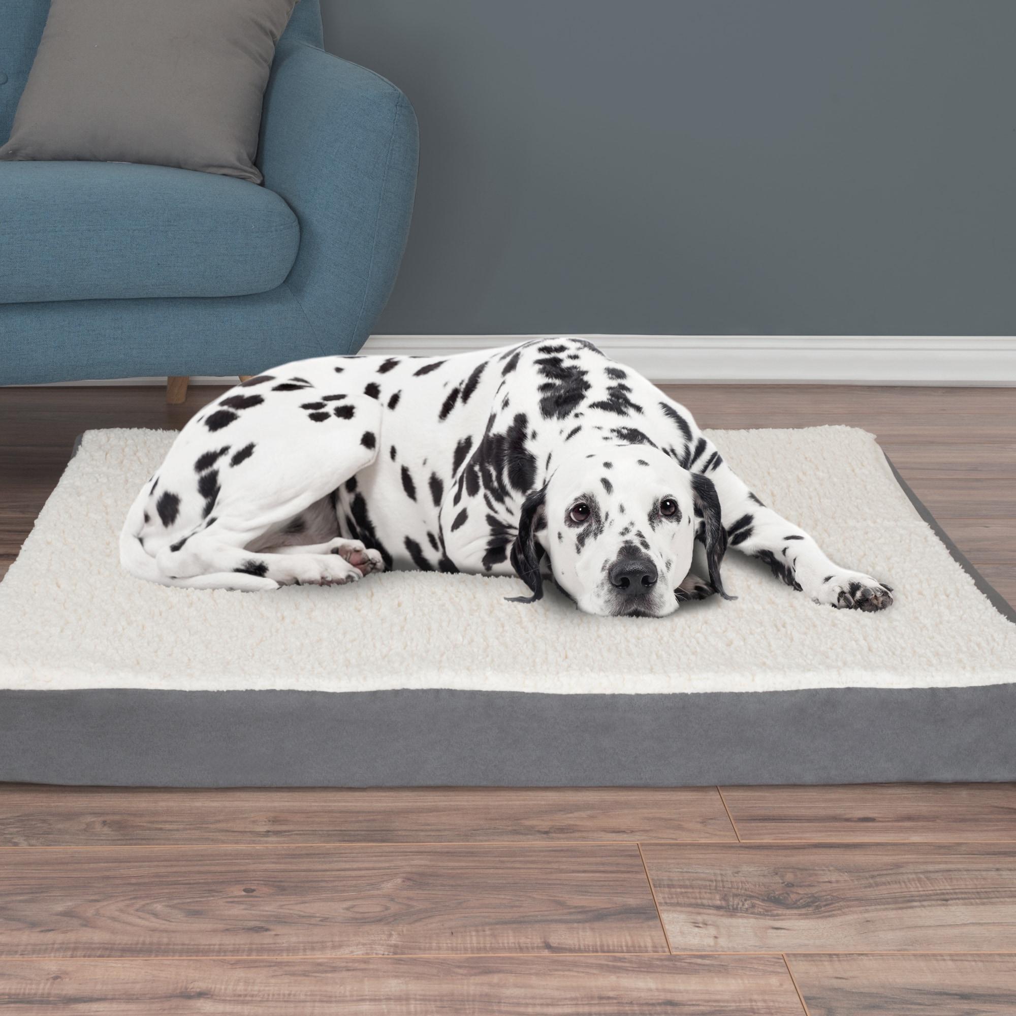 Petmaker Orthopedic Sherpa Top Pet Bed (36x27x4 Tan), Siz...