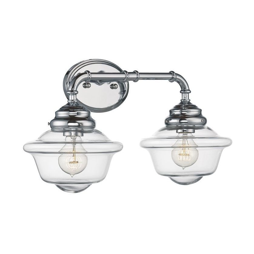 Bathroom Vanity Light WallMount Sconce Glass Shades Metal Fixture - Bathroom vanity lights chrome finish
