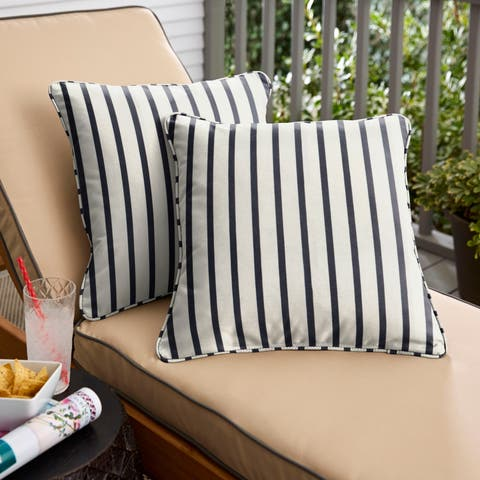 Mabley Sunbrella Lido Indigo Indoor/ Outdoor Corded Pillow Set
