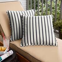 Mabley Sunbrella Lido Indigo Indoor/ Outdoor Corded Pillow Set