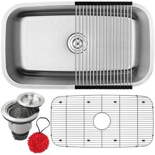 "31 1/2"" Ticor S112 Haven Series 16-Gauge Stainless Steel Undermount Single Basin Kitchen Sink with Accessories"