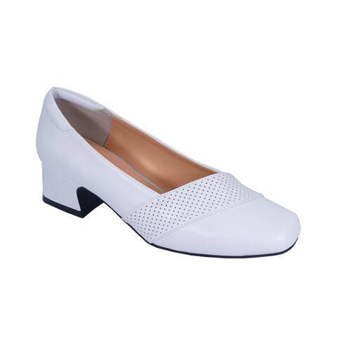 FIC Peerage Women's Dina Extra-Wide Width Low Block Heel Dress Casual Pump