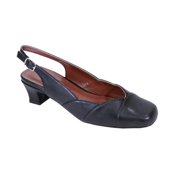 Fic Peerage Women's Eve Extra-wide Elegant Low-heel Dress Slingback