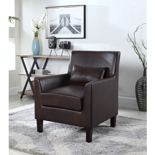 Best Master Furniture Espresso Faux Leather Accent Chair