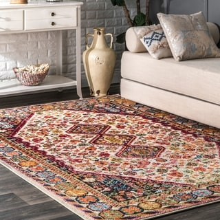 nuLOOM Distressed Traditional Flower Persian Ivory Rug (5'3 x 7'7)