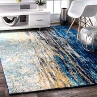 Oliver & James Serra Abstract Blue Vintage Rug - 10' x 14'