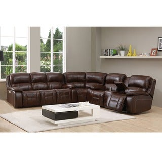 Hydeline by Amax Westminster II Top Grain Leather Brown Power Reclining Sectional Sofa with Power Headrest