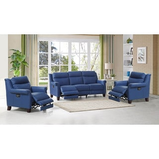 Hydeline by Amax Dolce 3 Pieces Top Grain Blue Leather Power Reclining Sofa and Two Recliners