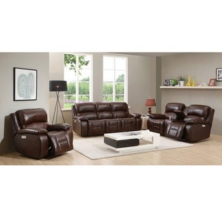 Hydeline by Amax Westminster II Top Grain Leather Brown Power Reclining Sofa, Loveseat and Recliner Set, with Power Headrest