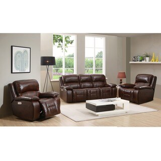Hydeline by Amax Westminster II Top Grain Leather Brown Power Reclining Sofa and 2 Recliners Set