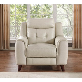 Hydeline by Amax Paramount Top Grain Cream Leather Power Recliner
