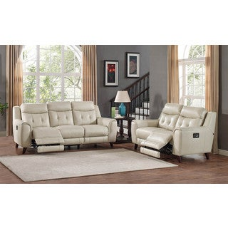 Hydeline by Amax Paramount Top Grain Leather Power Reclining Cream Sofa and Loveseat