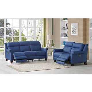 Hydeline by Amax Dolce Top Grain Leather Power Reclining Blue Sofa and Loveseat