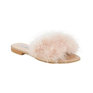 Cape Robbin Women's Sandal-1 Ostrich Feather and Synthetic Leather Sandals